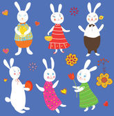 Funny easter rabbits set — Stock Vector