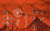 Kırmızı bir arka plan üzerinde büyük çiçekler — Stok fotoğraf
