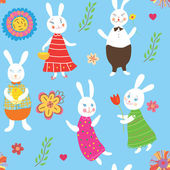 Seamless background with rabbits — Stock Vector