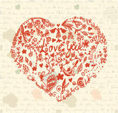 Heart on the paper vintage — Stockvector