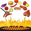 Stock Vector: BBQ with food