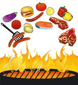 BBQ with food — Stock Vector