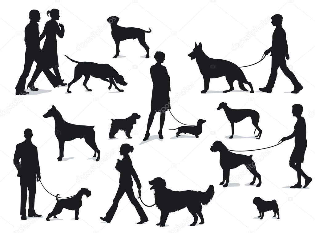 Walking with dogs — Stock Vector #10134373