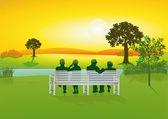 Seniors on park bench — Stock Vector
