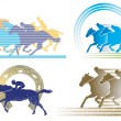 4 horse race characters — Stock Vector