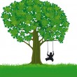 Stock Vector: Child and Tree