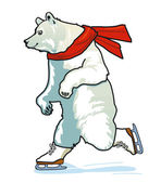Running Skating Polar Bear — Stock Vector