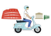Rome on a scooter — Stock Vector