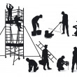 Stock Vector: Craftsmen and scaffolding