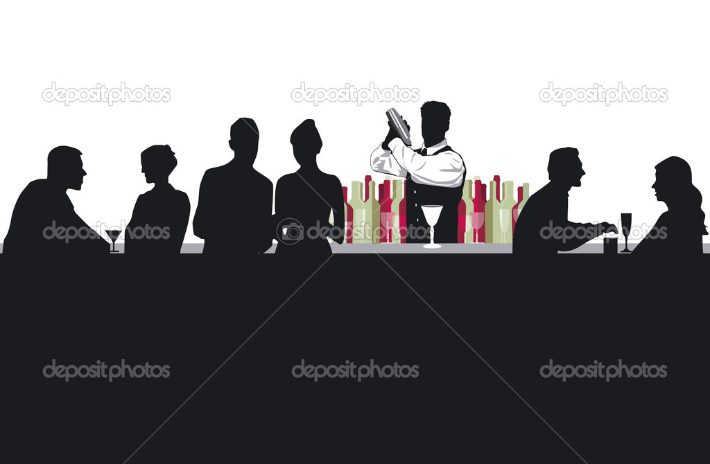 Cocktail bar with bartender  Stock Vector #10728107