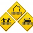 Stock Vector: Flood warning sign