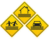 Flood warning sign — Stock Vector