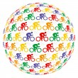 Colourful cyclists — Stock vektor