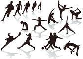 运动员和体育的妇女 — 图库矢量图片
