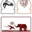 象、ライオン、魚 — ストックベクタ