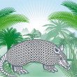 Armadillo in the Americas tropical forest — Stock Vector