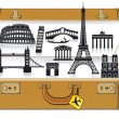Europe travel suitcase — Stock Vector