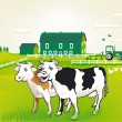 Cows on pasture — Stock Vector