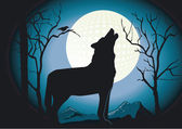 Wolf in the Night — Stock Vector