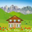 House in front of mountain backdrop - Stock Vector