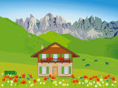 House in front of mountain backdrop — Stock Vector