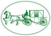 White Wedding Carriage — Stock Vector