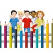 Children with colored pencils - Vettoriali Stock