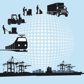 Port and logistics — Stock Vector