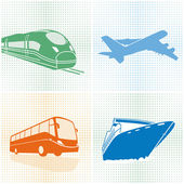 Airplane, bus, train, ship transport — Stock Vector