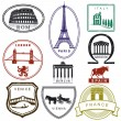 Travel stamps — Stock Vector