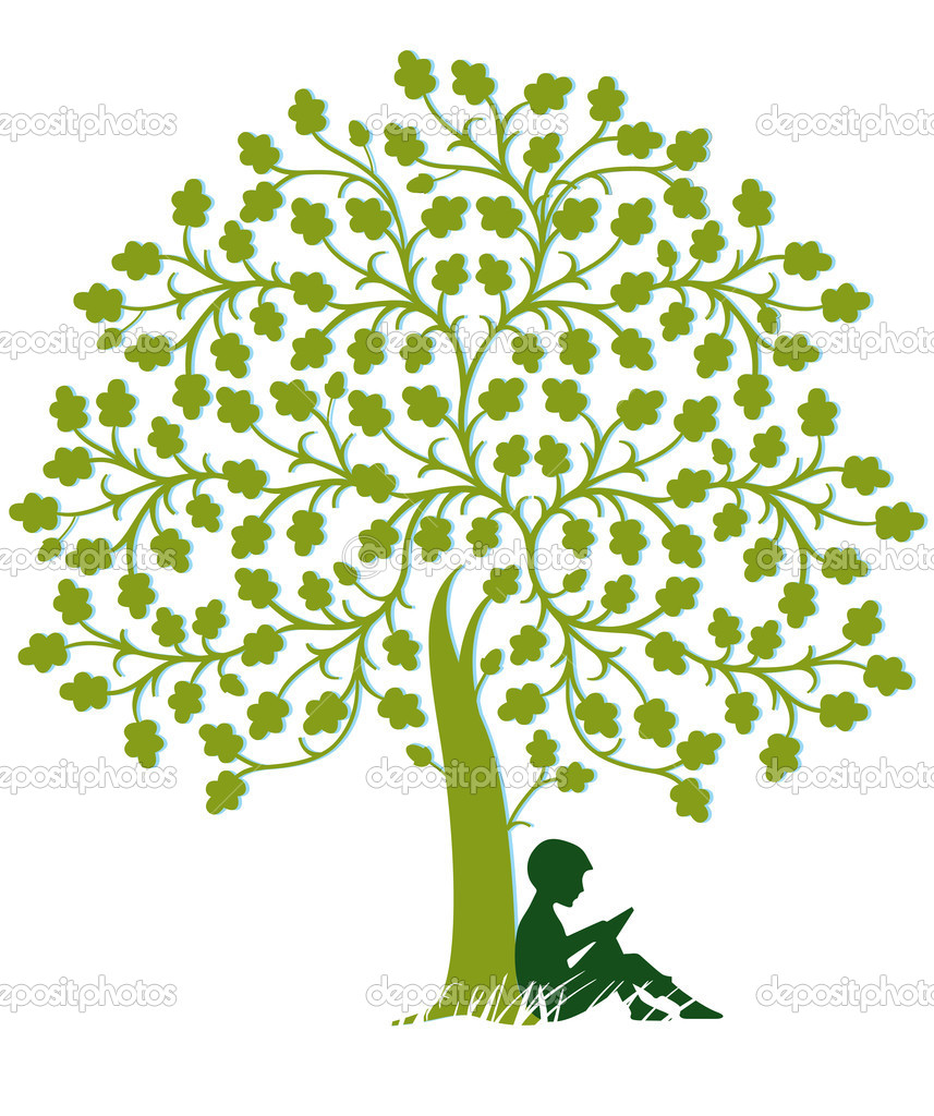 Child is reading under a tree — Stock Vector #9538120