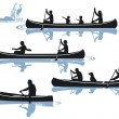Stock Vector: Canoeing