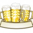 Vettoriale Stock : Three beer mugs