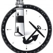 Compass, with a lighthouse and ship s anchor - Stock Vector