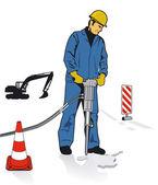 Werknemers met pneumatische boren — Stockvector