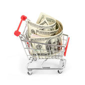 Shopping cart and dollar — Stock Photo