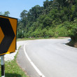 Sharp road curve sign — Stock Photo