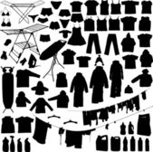 Laundry objects black and white silhouettes — Stock Vector