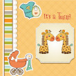 Baby  twins shower card - Stok fotoğraf