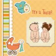 Baby twins shower card — Stock Photo #10110948