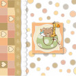 New baby shower card with toys - Stok fotoğraf