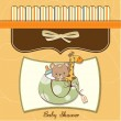 New baby shower card with toys — 图库照片