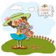 Funny girl with a bunch of flowers — Stock Photo #10148435