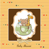 New baby shower card with toys — Zdjęcie stockowe