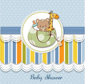New baby shower card with toys — Stock Photo