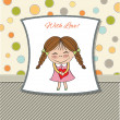 Funny girl with hearts. Doodle cartoon character. Vector Illustration.  — Foto Stock