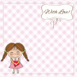 Funny girl with hearts. Doodle cartoon character. Vector Illustration. — Stock Photo #10168812
