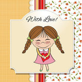 Funny girl with hearts. Doodle cartoon character. Vector Illustration. — Stock Photo