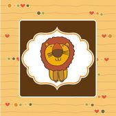 Childish greeting card with cartoon lion — Stock Photo