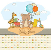 Baby shower card with toys — Stock Photo